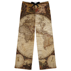 Vintage World Map Womens Pajama Pants