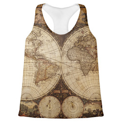 Vintage World Map Womens Racerback Tank Top