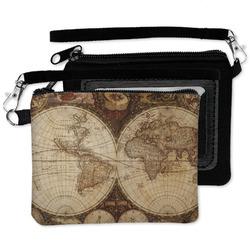 Vintage World Map Wristlet ID Case