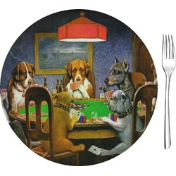 "Dogs Playing Poker by C.M.Coolidge Glass Appetizer / Dessert Plates 8"" - Single or Set"