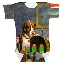 Dogs Playing Poker 1903 C.M.Coolidge Baby Bodysuit