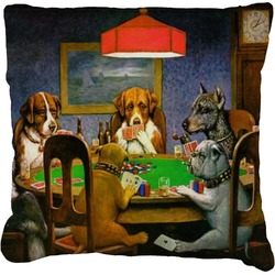 Dogs Playing Poker by C.M.Coolidge Faux-Linen Throw Pillow