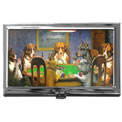 Dogs Playing Poker by C.M.Coolidge Business Card Case