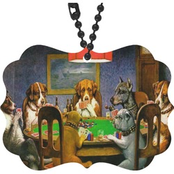 Dogs Playing Poker 1903 C.M.Coolidge Rear View Mirror Charm