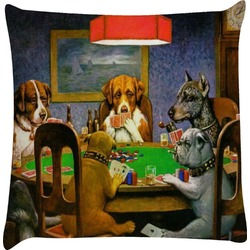 Dogs Playing Poker 1903 C.M.Coolidge Decorative Pillow Case