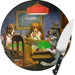 Dogs Playing Poker 1903 C.M.Coolidge Round Glass Cutting Board