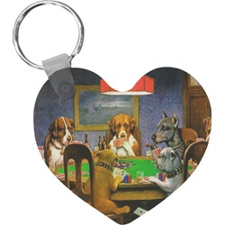 Dogs Playing Poker 1903 C.M.Coolidge Heart Keychain