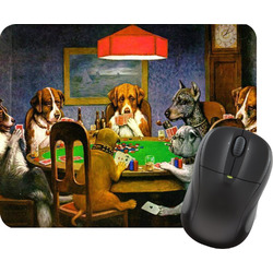Dogs Playing Poker by C.M.Coolidge Rectangular Mouse Pad