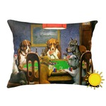 Dogs Playing Poker 1903 C.M.Coolidge Outdoor Throw Pillow (Rectangular)