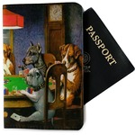 Dogs Playing Poker by C.M.Coolidge Passport Holder - Fabric