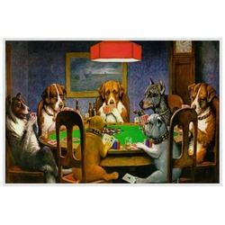 Dogs Playing Poker by C.M.Coolidge Laminated Placemat