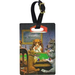 Dogs Playing Poker 1903 C.M.Coolidge Rectangular Luggage Tag
