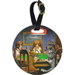 Dogs Playing Poker by C.M.Coolidge Plastic Luggage Tag - Round