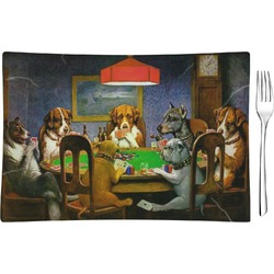 Dogs Playing Poker by C.M.Coolidge Glass Rectangular Appetizer / Dessert Plate - Single or Set