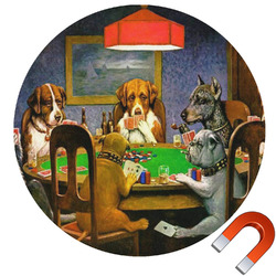 Dogs Playing Poker 1903 C.M.Coolidge Round Car Magnet
