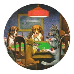 Dogs Playing Poker 1903 C.M.Coolidge Round Decal - Custom Size