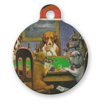 Dogs Playing Poker 1903 C.M.Coolidge Round Pet Tag