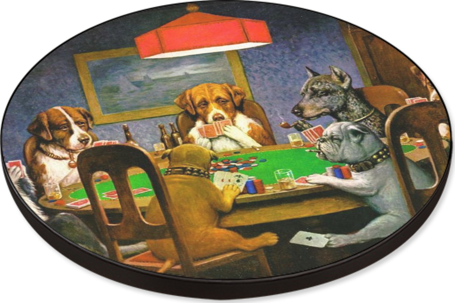 Dogs Playing Poker by C.M.Coolidge Round Table - 24 ...