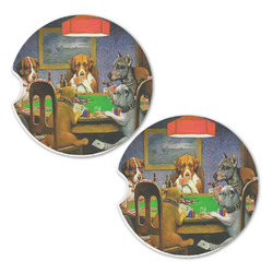 Dogs Playing Poker 1903 C.M.Coolidge Sandstone Car Coasters - Set of 2