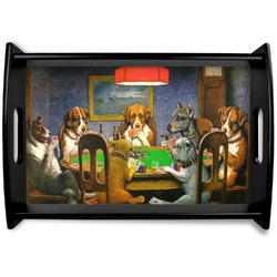 Dogs Playing Poker 1903 C.M.Coolidge Black Wooden Tray