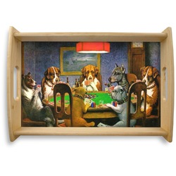 Dogs Playing Poker 1903 C.M.Coolidge Natural Wooden Tray