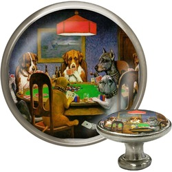 Dogs Playing Poker 1903 C.M.Coolidge Cabinet Knob (Silver)