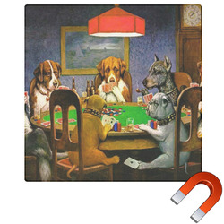 Dogs Playing Poker 1903 C.M.Coolidge Square Car Magnet