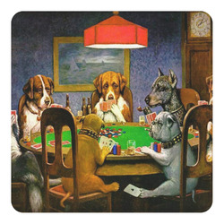 Dogs Playing Poker by C.M.Coolidge Square Decal