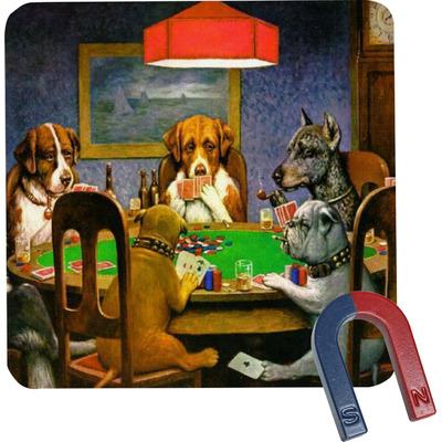 Dogs Playing Poker 1903 C.M.Coolidge Square Fridge Magnet