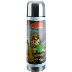 Dogs Playing Poker 1903 C.M.Coolidge Stainless Steel Thermos