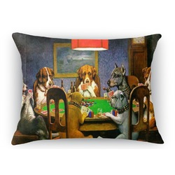 Dogs Playing Poker by C.M.Coolidge Rectangular Throw Pillow Case