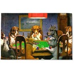Dogs Playing Poker 1903 C.M.Coolidge Woven Mat