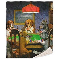 Dogs Playing Poker by C.M.Coolidge Sherpa Throw Blanket