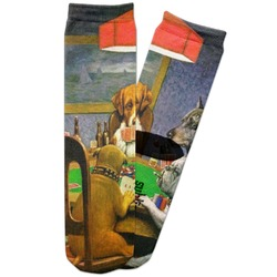 Dogs Playing Poker by C.M.Coolidge Adult Crew Socks