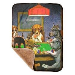 Dogs Playing Poker by C.M.Coolidge Sherpa Baby Blanket 30