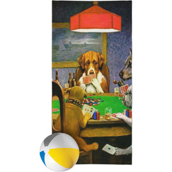 Dogs Playing Poker 1903 C.M.Coolidge Beach Towel