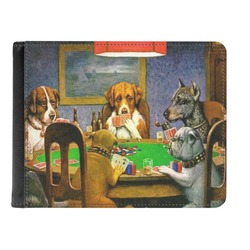 Dogs Playing Poker by C.M.Coolidge Genuine Leather Men's Bi-fold Wallet