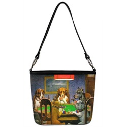 Dogs Playing Poker by C.M.Coolidge Bucket Bag w/ Genuine Leather Trim