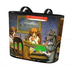 Dogs Playing Poker by C.M.Coolidge Bucket Tote w/ Genuine Leather Trim