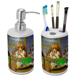 Dogs Playing Poker by C.M.Coolidge Ceramic Bathroom Accessories Set