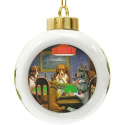 Dogs Playing Poker by C.M.Coolidge Ceramic Ball Ornament