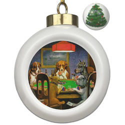 Dogs Playing Poker by C.M.Coolidge Ceramic Ball Ornament - Christmas Tree
