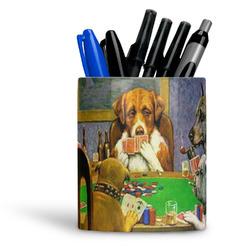 Dogs Playing Poker 1903 C.M.Coolidge Ceramic Pen Holder