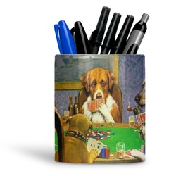 Dogs Playing Poker 1903 C.M.Coolidge Ceramic Pen Holder
