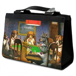 Dogs Playing Poker by C.M.Coolidge Classic Tote Purse w/ Leather Trim