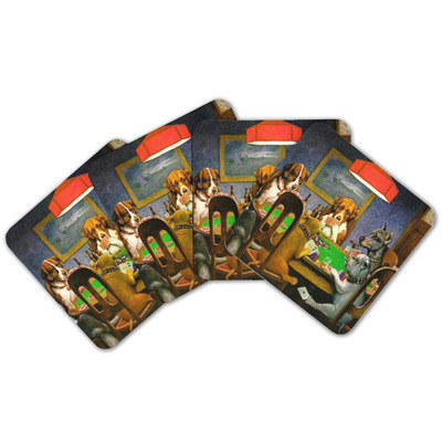 Dogs Playing Poker by C.M.Coolidge Cork Coaster - Set of 4