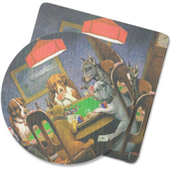 Dogs Playing Poker by C.M.Coolidge Rubber Backed Coaster