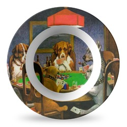 Dogs Playing Poker by C.M.Coolidge Plastic Bowl - Microwave Safe - Composite Polymer