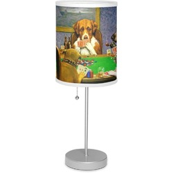"""Dogs Playing Poker by C.M.Coolidge 7"""" Drum Lamp with Shade"""