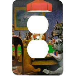 Dogs Playing Poker by C.M.Coolidge Electric Outlet Plate